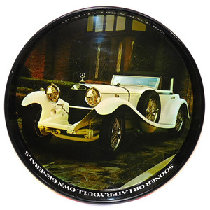 Vintage General Tire Advertising Tin Serving Tray w/ 1929 Mercedes-Benz SSK Car