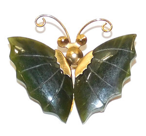 Vintage Gold Tone Butterfly Shaped Brooch with Carved Jade Wings Pin