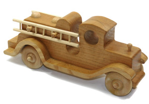 Vintage Handmade Wooden Folk Art Antique Style Firetruck Toy Truck w/ Ladders