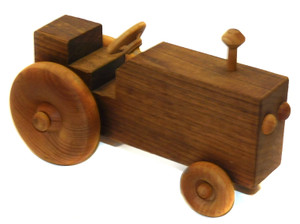 Vintage Hand Crafted Wooden Folk Art Farm Tractor Toy
