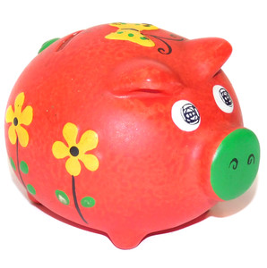 Whimsical Pudgy Hand-Painted Ceramic Miniature Piggy Band Retro Change Bank