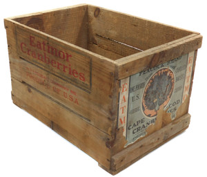Scarce Vintage Peacock Brand Eatmor Cranberries Wood Advertising Shipping Crate