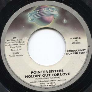 Pointer Sisters: Slow Hands / Holdin' Out for Love - 45 rpm Vinyl Record