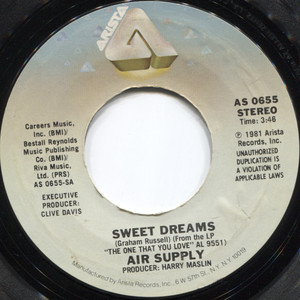Air Supply: Sweet Dreams / Don't Turn Me Away - 45 rpm Vinyl Record