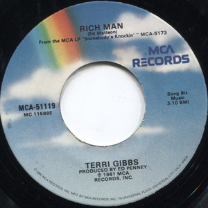 Terri Gibbs: Rich Man / I Won't Cry in Dallas Anymore - 45 rpm Vinyl Record