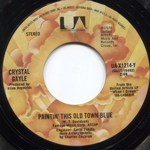 Crystal Gayle: Paintin' This Old Town Blue / Talking in Your Sleep - 45 rpm Vinyl Record