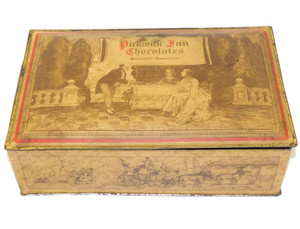 Vintage Pickwick Inn Chocolates Tin Litho Candy Box Greenwich, Connecticut
