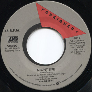Foreigner: Juke Box Hero / Night Life - 45 rpm Vinyl Record
