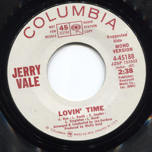 Jerry Vale: Lovin' Time / I'll Never Fall in Love Again - Promo 45 rpm Vinyl Record