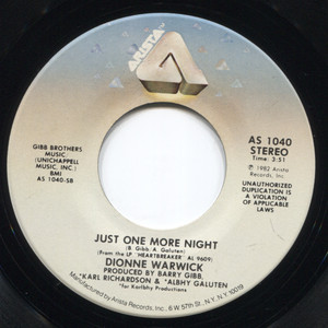 Dionne Warwick: Just One More Night / Take the Short Way Home - 45 rpm Vinyl Record