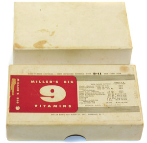Vintage Miller Drug Miller's Big 9 Vitamins Pill Box - Buffalo, New York