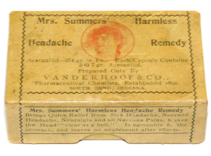 Antique Mrs. Summers' Harmless Headache Remedy Acetanilid Pill Box Medicine