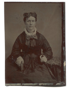 Antique Tintype 2 Women  Victorian Dress with Hat