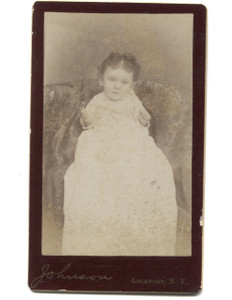 Antique Victorian CDV Photograph of Baby in Christening Dress - Lockport, NY