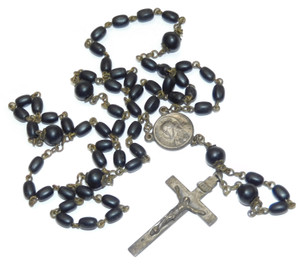Vintage Silver Plated Estate Catholic Rosary Prayer Chain with Black Beads