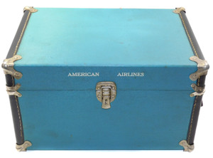 Vintage American Airlines Miniature Steamer Trunk Train Case Suitcase Luggage