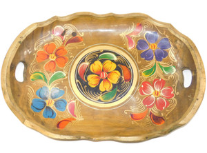 Vintage Oval Wooden Tole Serving Tray with Handles Hand Painted Flowers