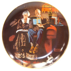 Vintage Edwin Knowles Norman Rockwell Evening Ease Porcelain Collector Plate