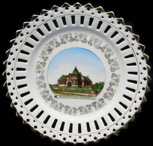 Antique Porcelain Souvenir Collector Plate Prendergast Library Jamestown, NY