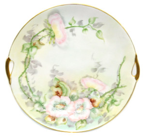Antique Germany Handled Porcelain Plate Charger Hand-Painted E Sturm Buffalo NY
