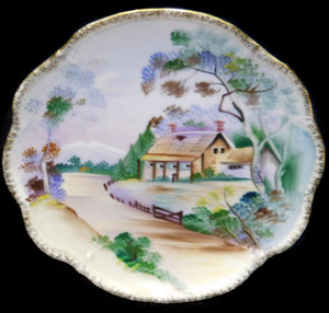 Vintage Hand-Painted Porcelain Decorative Plate w/ Country Cottage House Scene