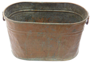 Antique Copper Boiler Wash Tub Canner with Caramel Patina & Cast Iron Handles