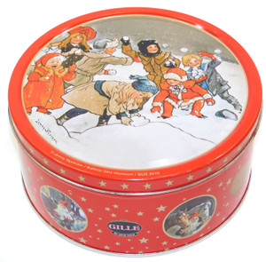 2010 Vintage Gille Ginger Snaps Cookie Tin w/ Jenny Nystrom Snow Scene Graphics