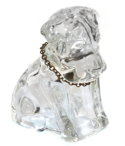 Vintage Small Clear Glass Figural Dog Shaped Candy Container with Metal Collar