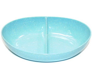 Vintage Unsigned Light Blue with White Speckles Divided Melmac Snack Bowl