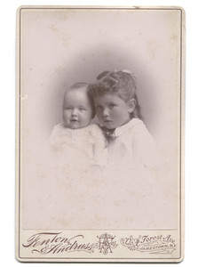 Antique Victorian Cabinet Card Photograph of Two Cute Children Girl & Baby