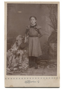 Antique Cabinet Card Photograph of Young Victorian Girl Standing with Flat Brim Hat