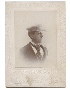 Antique Victorian Cabinet Card Photo Named Subject Glenn Casler in Plaid Hat - DuBois, PA