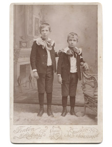 Antique Victorian Cabinet Card Photograph of Young Boys w/ Painted Backdrop