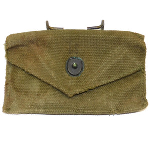 Vintage World War 2 Era U.S. Army Military Olive Drab Green Canvas First Aid Pouch