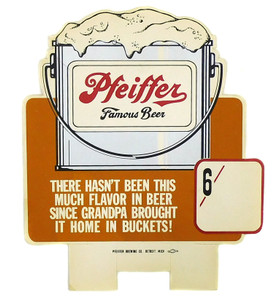 Vintage Pfeiffer Brewing Co Famous Beer Bucket 6 Pack Cardboard Advertising Sign