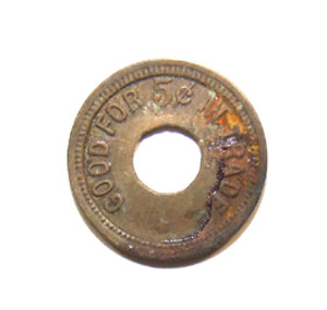 Antique Brass Amusement Token 5