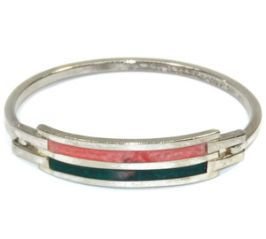 Vintage Thin Silver Plated Bracelet with Coral & Jade Colored Inlays