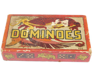 Vintage Full Set of Halsam Products Co. Dominoes in Dragon Graphics Box