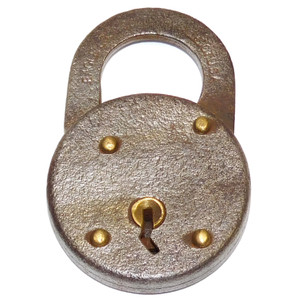 """Rusty and Pitted Antique Eagle Lock Company Round Steel Padlock 2 5/8"""""""