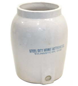 Antique Steel City Manufacturing Stoneware Water Crock Dispenser Youngstown OH