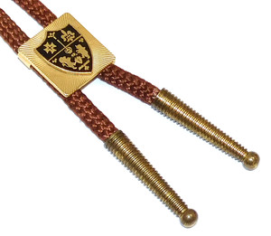 Vintage Braided Bolo Tie with Gold Plated & Enameled Slide with Family Crest