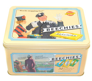 1990 Beechies Chewing Gun Advertising Tin Box Old Timey Ad Graphics