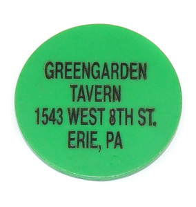 Vintage Greengarden Tavern Plastic Beer Chip Drink Token Advertising Coin - Erie, PA