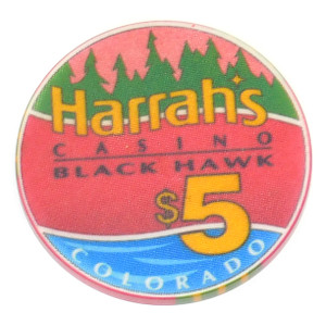 Vintage Harrah's Casino Black Hawk Colorado $5 Casino Poker Chip Token Coin