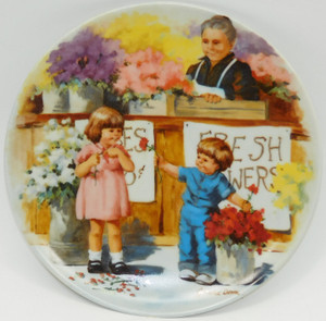 1986 Vintage Jeanne Down The Flower Arrangement Knowles Limited Edition Collector Plate