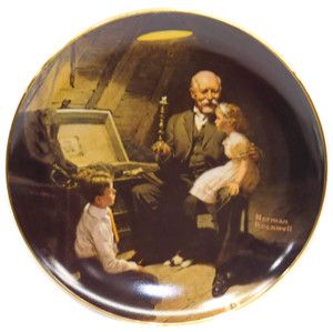 1983 Vintage Norman Rockwell Grandpa's Treasure Chest Knowles Limited Edition Collector Plate