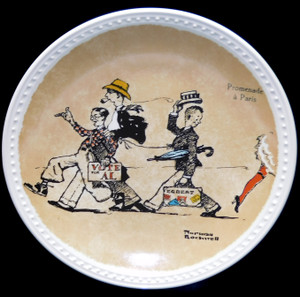 1982 Vintage Norman Rockwell Promenade a Paris Newell Pottery Limited Edition Collector Plate