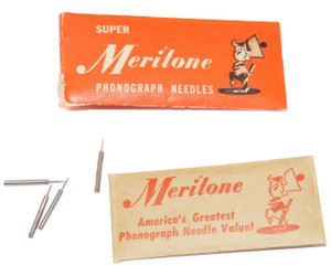 Vintage Meritone Phonograph Needles Lot of 4 in Original Envelope Package
