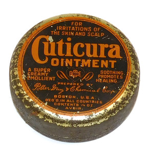 Antique Cuticuria Ointment Advertising Tin Potter Drug & Chemical Corp.