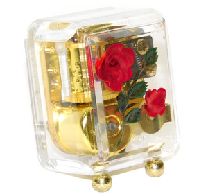 Miniature Clear Lucite Wind-Up Music Box Amazing Grace Intaglio Rose Flowers